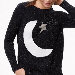 LOFT Black Moon & Star Sweater Wool Blend